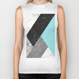 Black and White Marbles and Pantone Island Paradise Color Biker Tank