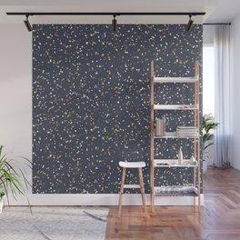 Speckles I: Dark Gold & Snow on Blue Vortex Wall Mural