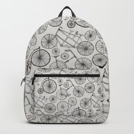 Monochrome Vintage Bicycles of Soft Grey Backpack