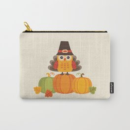 THANKSGIVING OWL IN TURKEY COSTUME ON PUMPKINS Carry-All Pouch