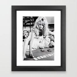Brigitte Bardot Playing Cards, Black and White Photograph Framed Art Print
