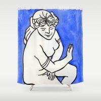 greek Shower Curtains featuring Greek Goddess by Mara Cole Studio