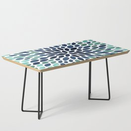 Flower Bloom, Aqua and Navy Coffee Table
