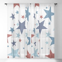 Stars - Red, White and Blue Sheer Curtain
