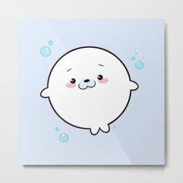 Baby Seal Kawaii Metal Print