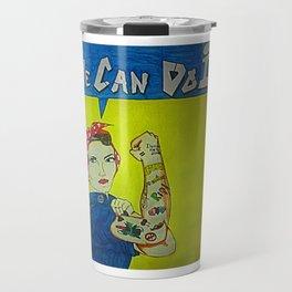Modern Rosie the Riveter Travel Mug