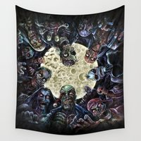 zombies Wall Tapestries featuring Zombies attack (zombie circle horde) by Scott Jackson Monsterman Graphic