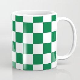 Checkered (Dark Green & White Pattern) Coffee Mug