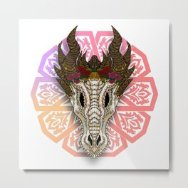 The Curved Horned Dragon Skull Boho-Style Metal Print