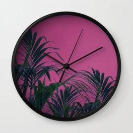Pink Sunset Palm Wall Clock