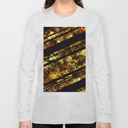 Gold Bars - Abstract, black and gold metallic, textured diagonal stripes pattern Long Sleeve T-shirt