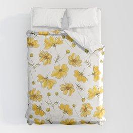 Yellow Cosmos Flowers Bettbezug