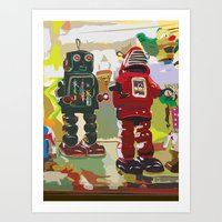 robots Art Prints featuring Robots by Five Ate Five Studios