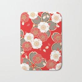 Japanese Vintage Red Black White Floral Kimono Pattern Bath Mat