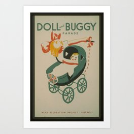 Vintage American WPA Poster - Doll and Buggy Parade (1939) Art Print