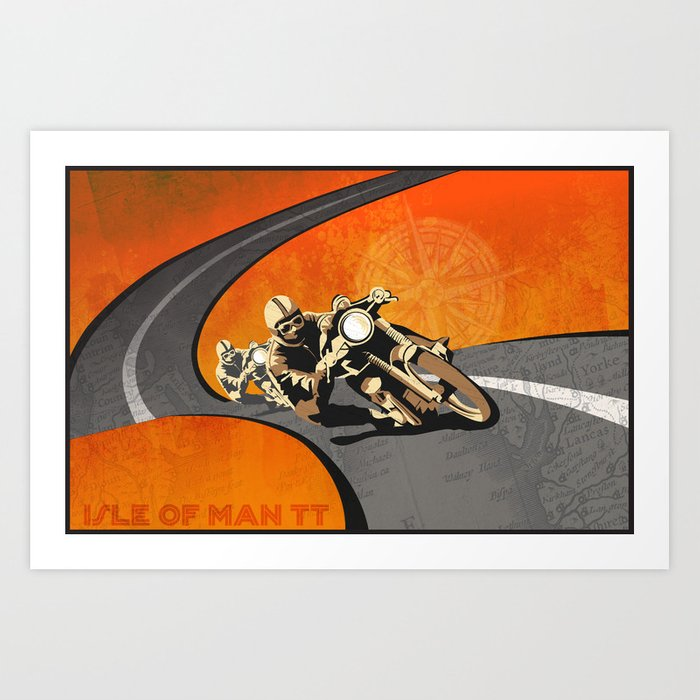 Vintage Isle Of Man Tt Motor Race Poster Art Print By
