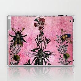 Vintage Bees with Toadflax Botanical illustration collage Laptop & iPad Skin