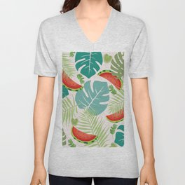 Tropical red green watermelon fruit floral Unisex V-Neck