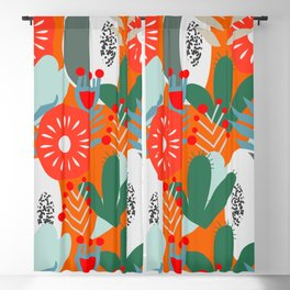 Cacti, fruits and flowers Blackout Curtain