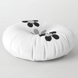 Retro White & Black Daisy Pattern Floor Pillow