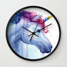 Rainbow Unicorn Colorful Watercolor Animal Wall Clock