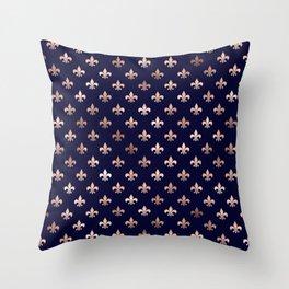 Royal Blue Rose Gold Pattern Throw Pillow