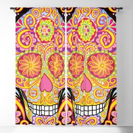 Day of the Dead Sugar Skull (Psychedelia) Blackout Curtain