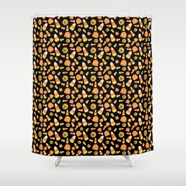 Candy Corn and Pumpkins Shower Curtain