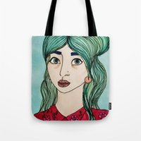 cassandra jean Tote Bags featuring Jean by Hanna Tingström