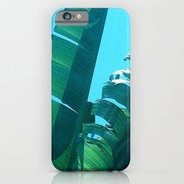 Gorgeous Palm Leaves in Vibrant Blue, Blue Sky iPhone Case