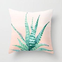 Desert Succulent Aloe Vera Throw Pillow