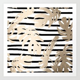 Simply Tropical White Gold Sands Palm Leaves on Stripes Art Print