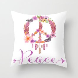 Peace Symbol Flower Power 70s Art Throw Pillow