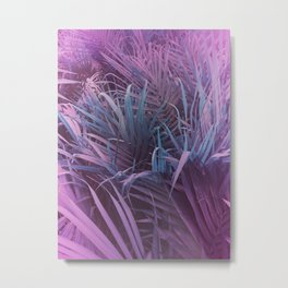 Tropical Palm Leaves Purple and Teal Metal Print