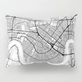 New Orleans Map White Pillow Sham