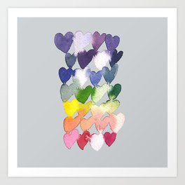 Rainbow Hearts Art Print