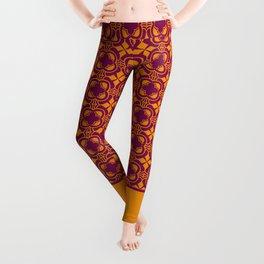 Vintage Art Deco Motif Mosaic Pattern Yellow Purple Leggings