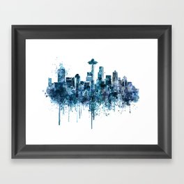Seattle Skyline monochrome watercolor Framed Art Print