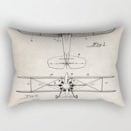 Biplane Patent - Aviation Art - Antique Rectangular Pillow