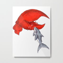 Great White Lobstah Lovah Metal Print