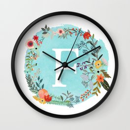 Personalized Monogram Initial Letter F Blue Watercolor Flower Wreath Artwork Wall Clock