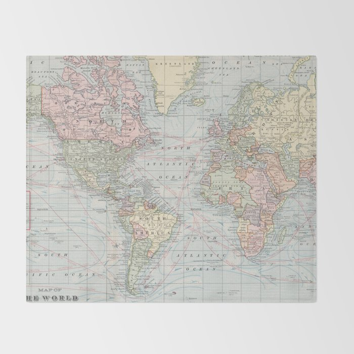 Vintage world map 1901 throw blanket by bravuramedia society6 vintage world map 1901 throw blanket gumiabroncs Choice Image