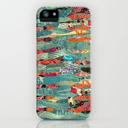 Goodbye Wave Abstract Art Collage iPhone Case