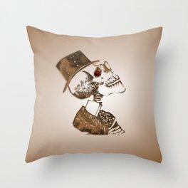 Steampunk Skeleton Throw Pillow