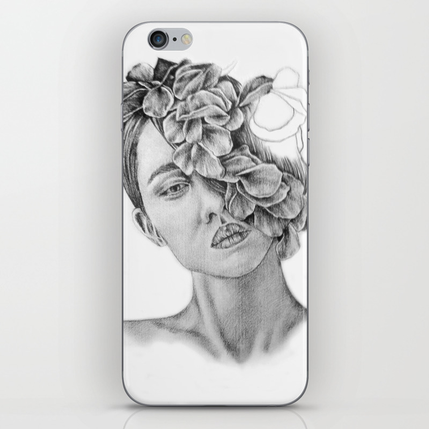 Art pencil drawing illustration portrait model flowers gift wall decor iphone skin by kathrynlisa society6