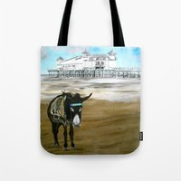 donkey Tote Bags featuring Seaside Donkey by James Peart