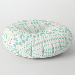 Tribal geometric pattern - light blue and grey Floor Pillow