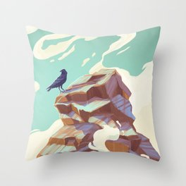 Alpine Crow Throw Pillow