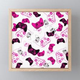Video Game White & Pink Framed Mini Art Print