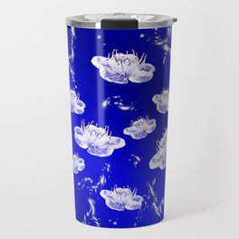 white blossom in blue and silver Digital pattern with circles and fractals artfully colored design Travel Mug